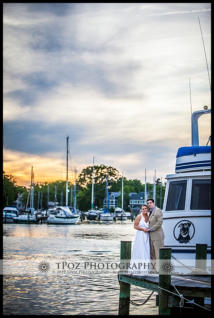 Port Annapolis Marina Wedding Bride and Groom at Sunset