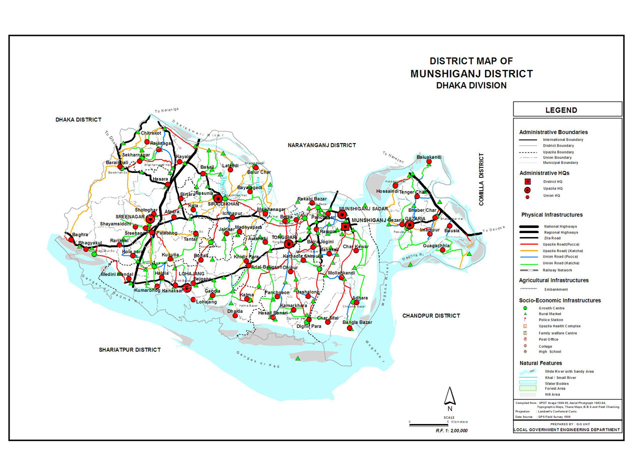 Munshiganj District Map Bangladesh