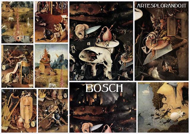 collage di particolari del trittico del Giardino delle Delizie, Hieronymus Bosch