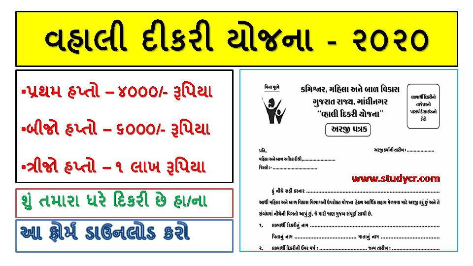 Gujarat Vahli Dikri Yojana 2020: Online Registration/ Application Form