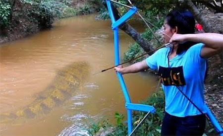 Amazing Girl Uses PVC Pipe Compound BowFishing To Shoot Fish