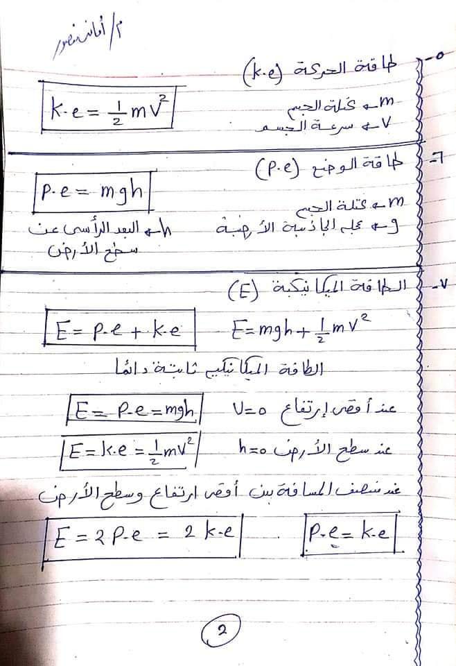 مراجعة كل قوانين الفيزياء اولي ثانوي في ٦ ورقات أ/ امانى منصور 2