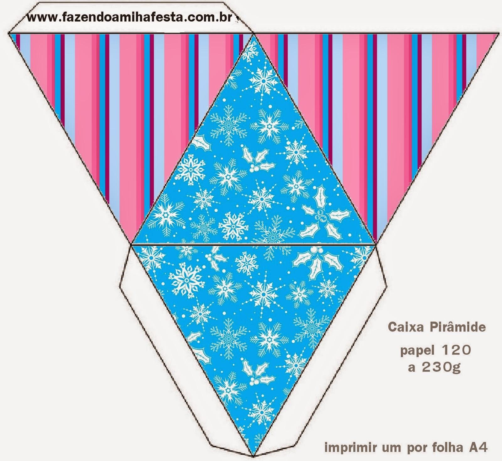 Caja con forma de pirámide de Frozen en Morado y Celeste para Navidad.