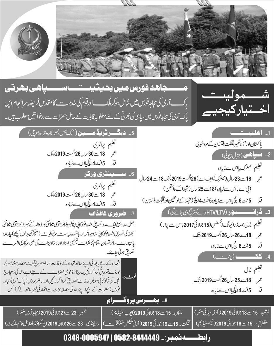 Mujahid Force Jobs, Pak Army Jobs, Join Pak Army, Pakistan Army Mujahid Force Jobs 2019 July