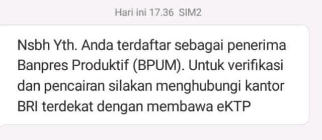 Pencairan BLT UMKM, Eform BRI, Eform UMKM, Eform BPUM, SMS BPUM