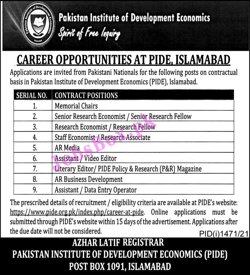 Pakistani Institute of Development Economics PIDE Jobs 2021