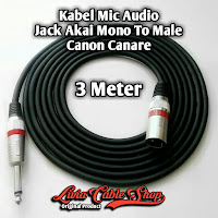 Kabel Mic Audio Jack Akai mono To Male Canon Canare 3 Meter