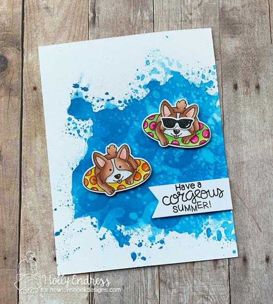 Summer Beach Corgi Dog Card by Holly Endress | Corgi Beach Stamp Set by Newton's Nook Designs #newtonsnook #handmade