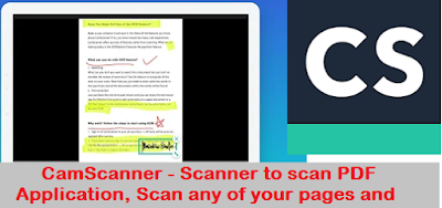 CamScanner - Scanner to scan PDF Application, Scan any of your pages and create a PDF Mobile App