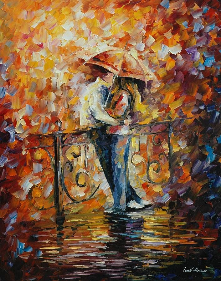 Painting couple kissing in the rain  I have to try to