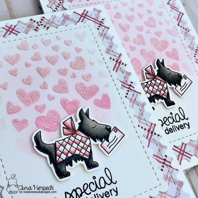 Special Delivery Card Set by Tina Herbeck | Canine Christmas Stamp Set, Tumbling Hearts Stencil and Framework Die Set by Newton's Nook Designs