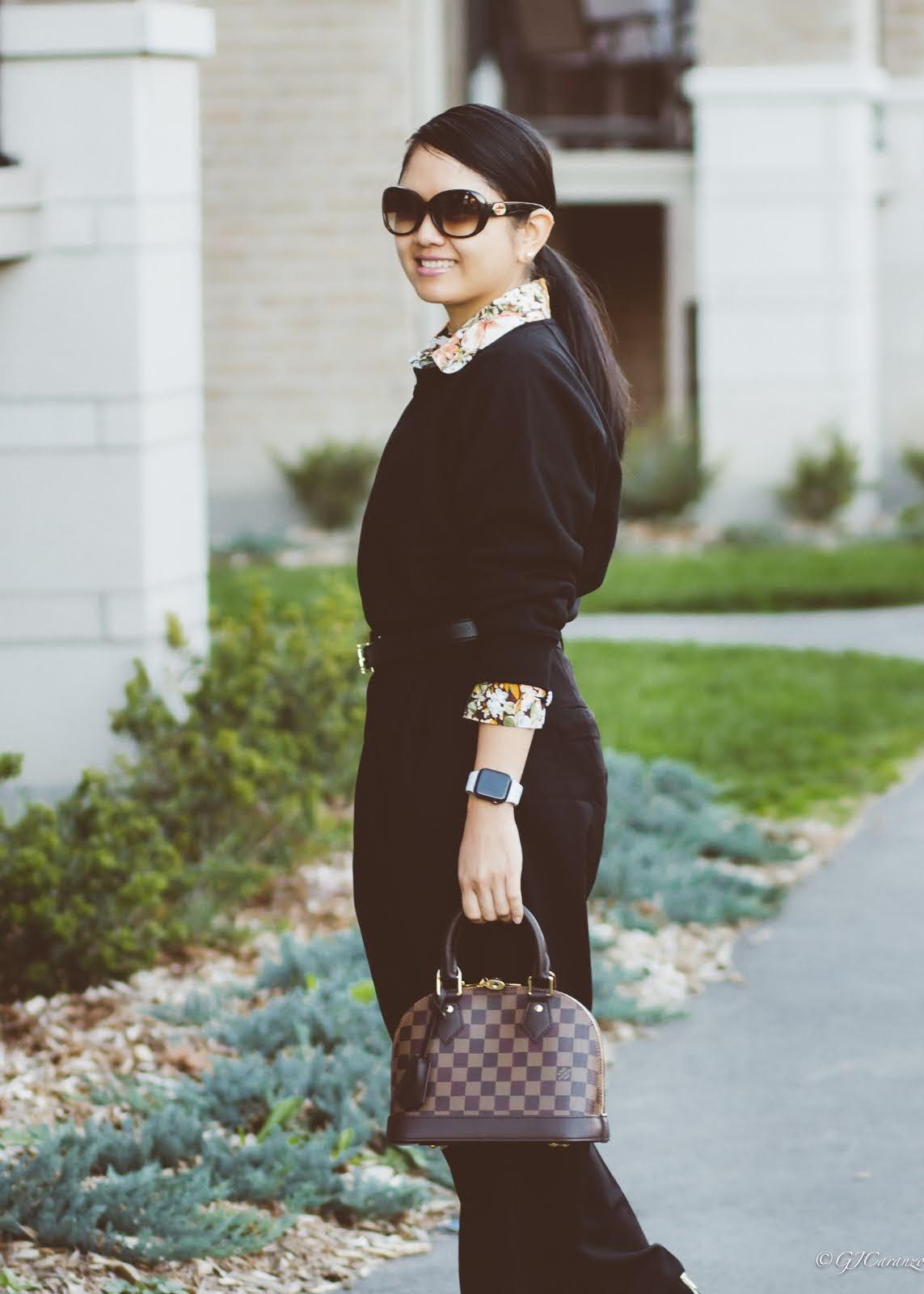 H&M Sweatshirt | Zara Floral Print Blouse | H&M Dress Pants | Louis Vuitton Alma BB in Damier Ebene | Tory Burch Reversible Belt | Steve Madden Ankle Boots | Petite Outfit