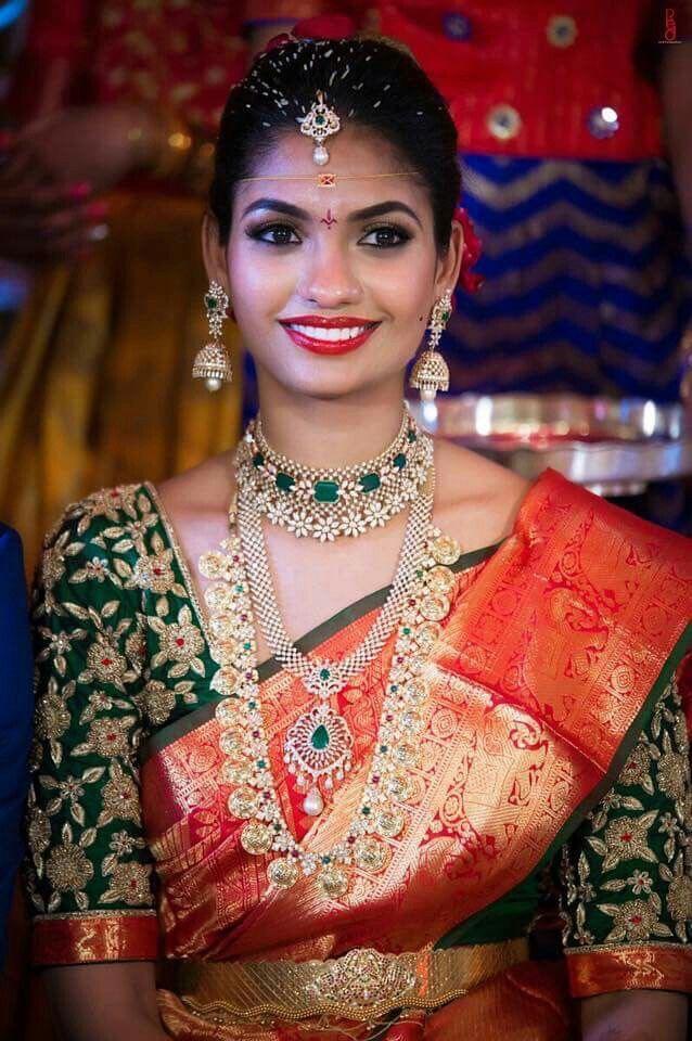 Bride in Diamond Emerald Choker Ram Parivar Set