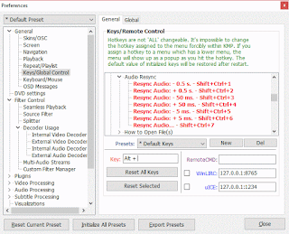 KMPlayer Audio Resync Set