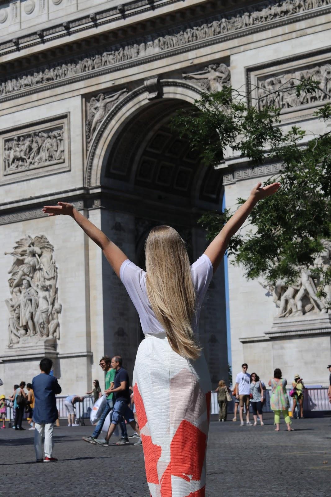 Katie Heath wearing an L.K.Bennett skirt outside the arc de Triomph