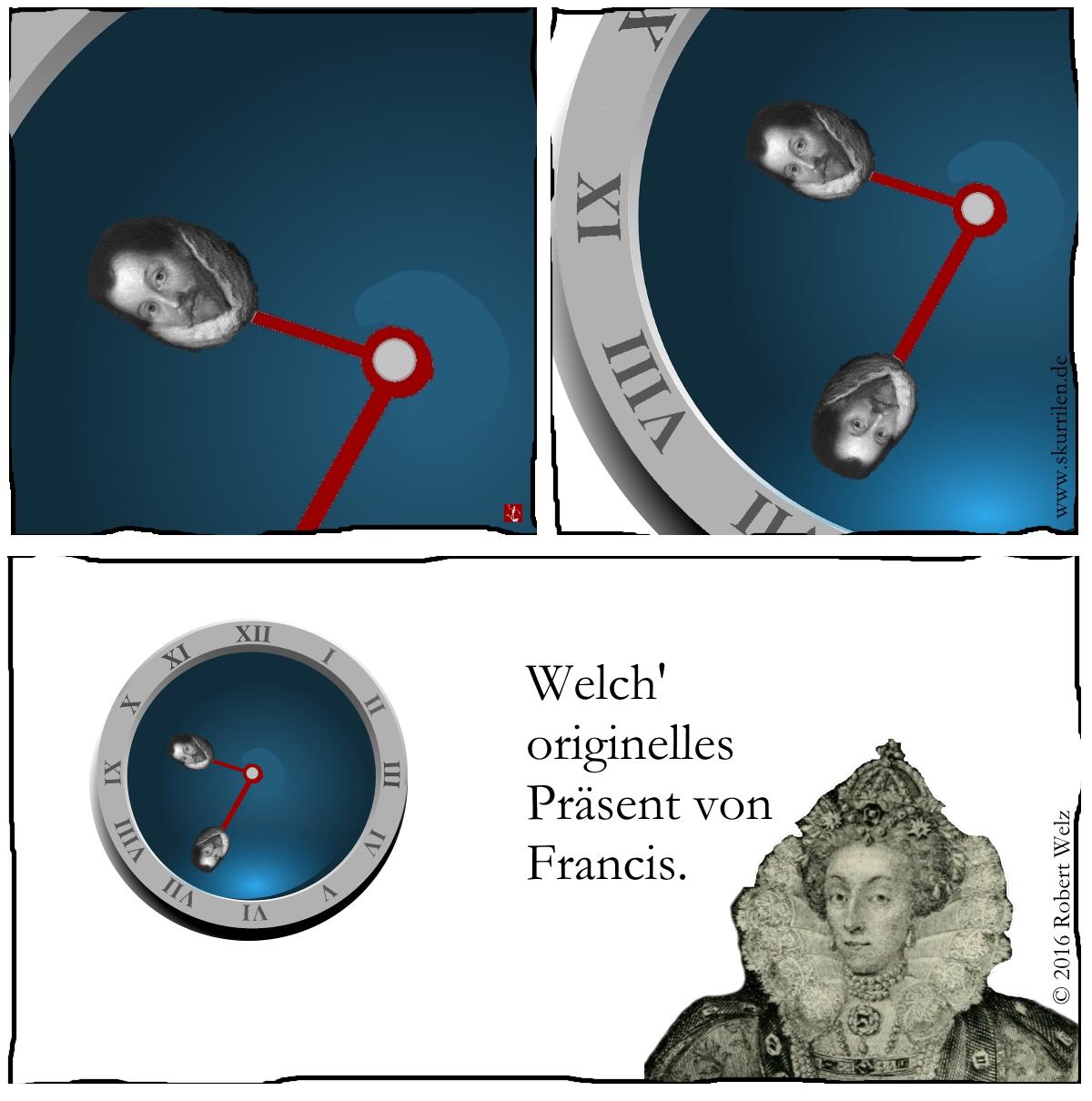 Lustige Fantasy. Der Comic-Pirat der Königin hat immer wieder die besten Ideen für seine Elisabeth.