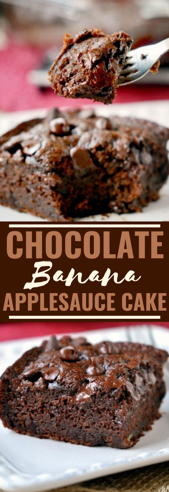 Chocolate Banana Applesauce Cake #cake #recipes #baking #brownies #desserts
