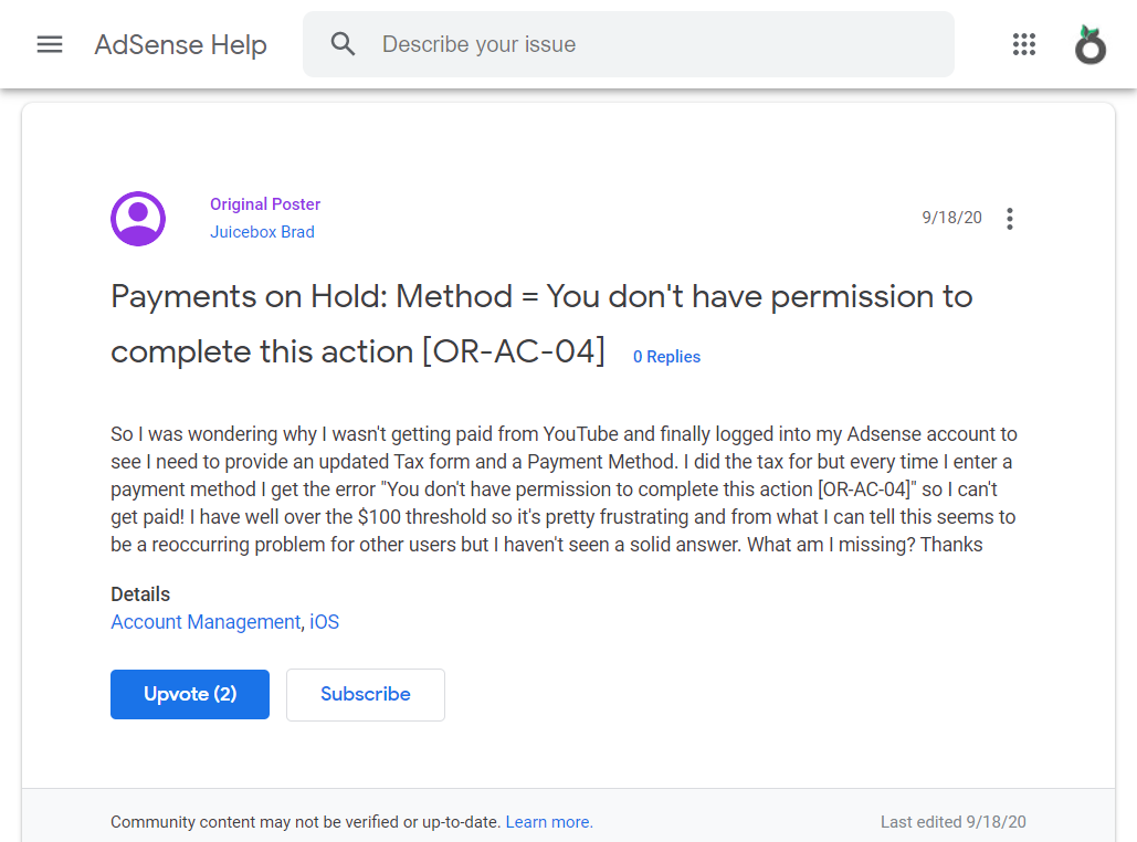Payments on Hold: Method = You don't have permission to complete this action [OR-AC-04]