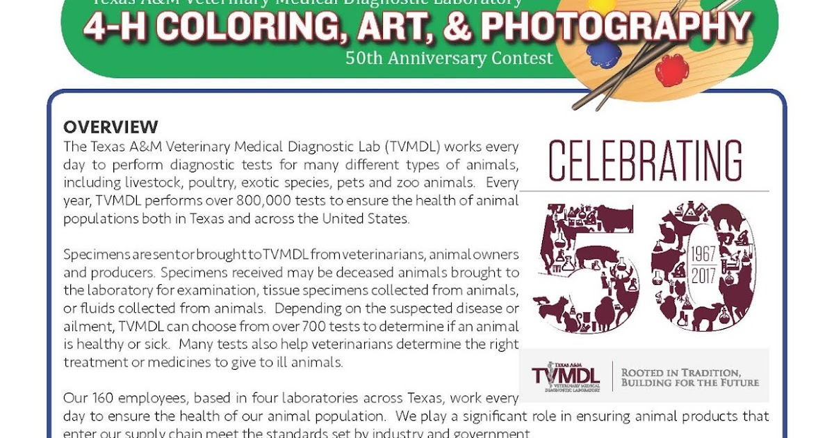 Travis County 4 H 4 H Coloring Art Amp Photography Contest