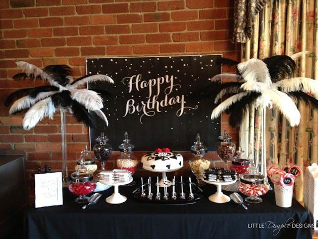 deco table anniversaire noir et blanc