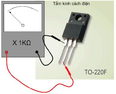 Hình 8b - Đo trở kháng G - D phải cách điện, nếu đo từ G sang S hoặc từ G sang D mà lên kim là đèn hỏng