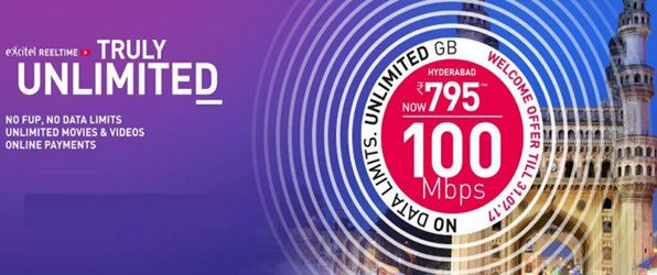 Excitel Unlimited Broadband plans without FUP and with rs.200 discount offer on internet plans