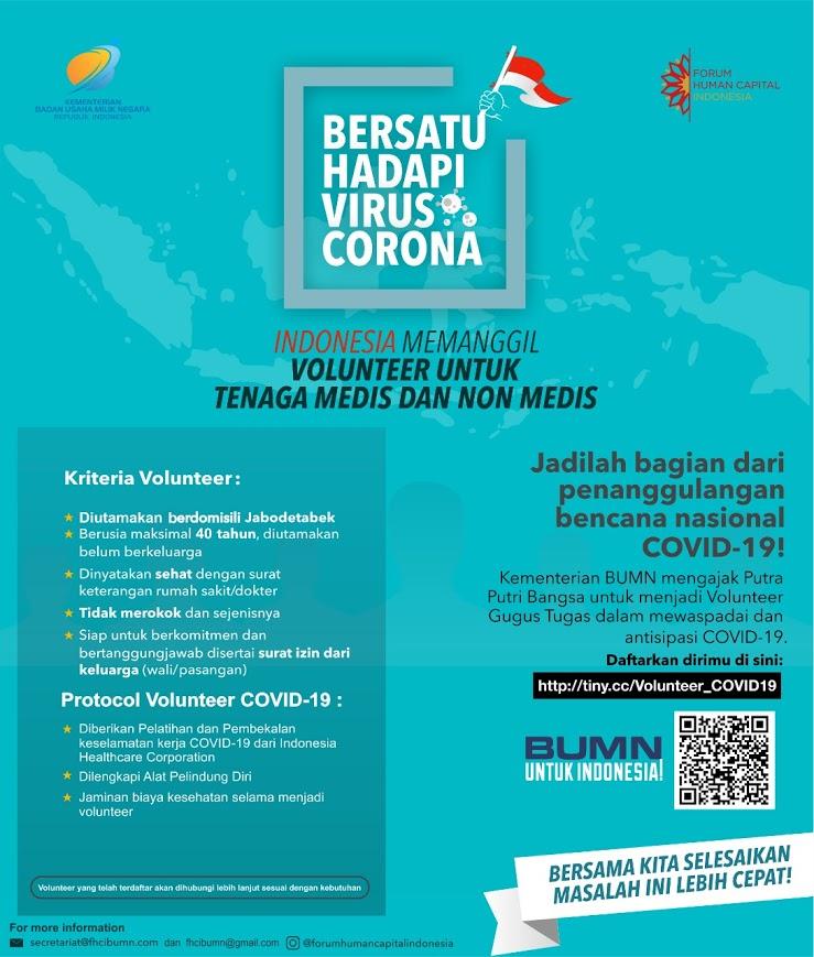 Penerimaan Volunteer Tenaga Medis dan Non Medis Kementerian BUMN dalam Antisipasi COVID-19