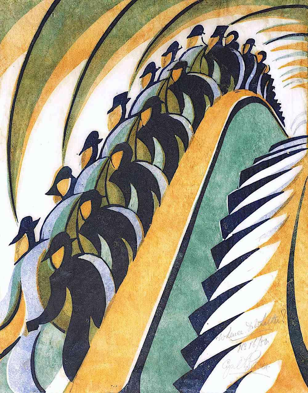 a Cyril Power print, subway escalator