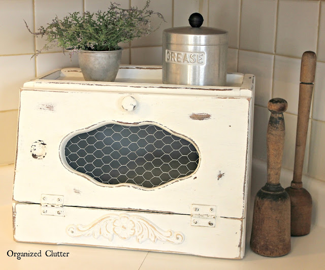 Bread Boxes Upcycled with Paint, Stencils & Chicken Wire