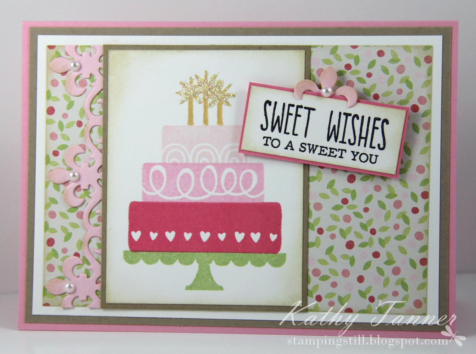 layer cake, the greetings farm, fleur de lis accents