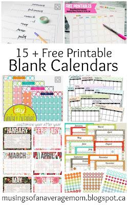 free printable blank calendars
