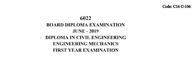 Sbtet Engineering Mechanics Previous Question Paper c16 Civil 106 June 2019