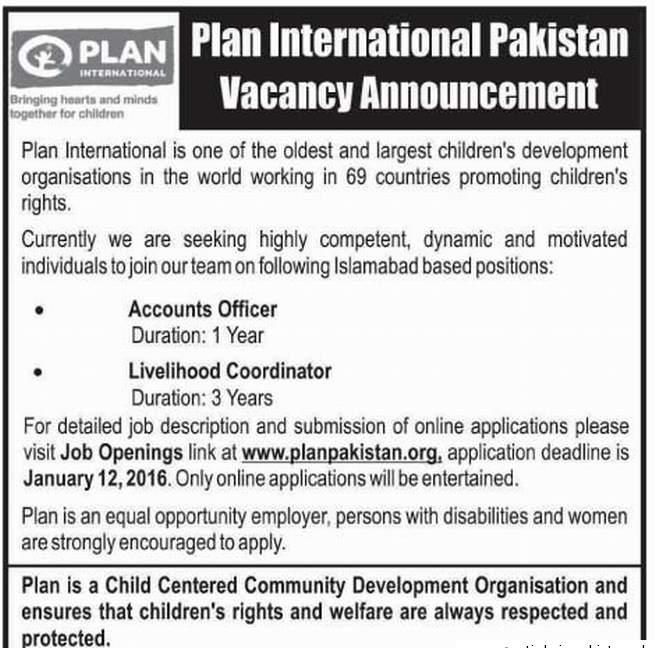 Plan International Ngo Job in Pakistan 2016, Accounts
