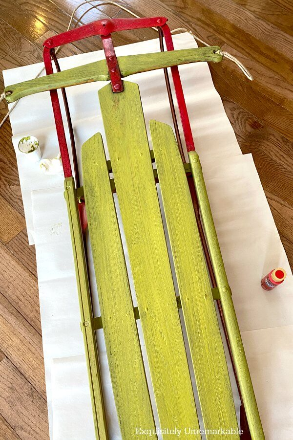 Green Wood and Red Metal Painted Sled Makeover