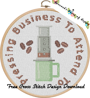 hip aeropress coffee cross stitch sampler free to download