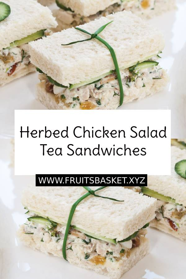 Herbed Chicken Salad Tea Sandwiches Recipe - Made with garden-fresh ingredients and garnished to perfection, these savory bite-size sandwiches will be the star of a springtime tea. #chicken #salad #tea #sandwiches #brunch #breakfast #lunch