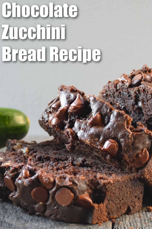 Chocolate Zucchini Bread Recipe sliced.