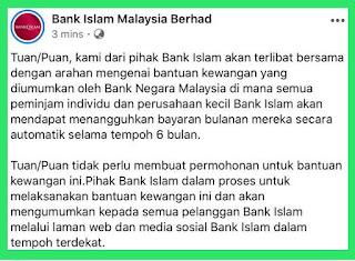 tangguh bayar ansuran pinjaman bank BNM Bank Islam Maybank