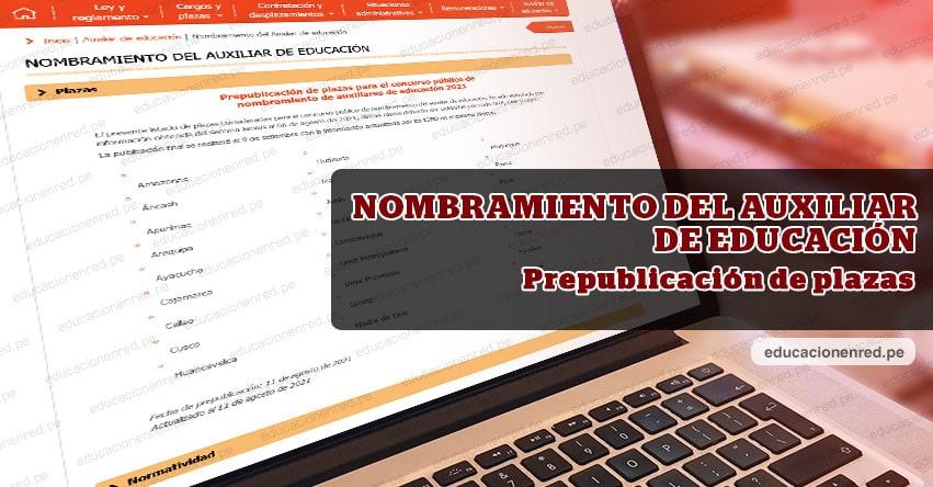 NOMBRAMIENTO DEL AUXILIAR DE EDUCACIÓN: Prepublicación de plazas para el concurso público [ACTUALIZADO 11 DE AGOSTO 2021]