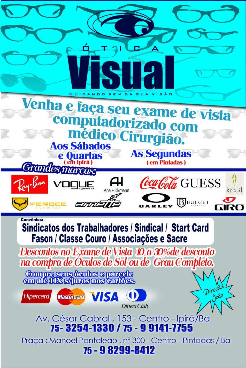 53f63453722d1 Venha fazer seu exame de vista na Ótica Visual, em Ipirá e Pintadas ...