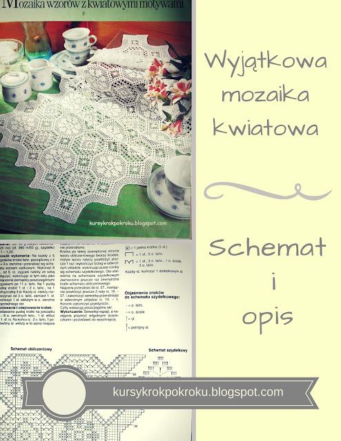 Śliczna serweta (obrus) mozaika z motywami kwiatów - schemat i opis
