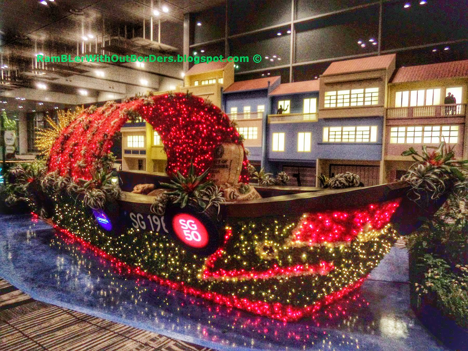 Bumboat topiary exhibit, Departure Hall, T3, Changi Airport, Singapore