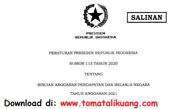 peraturan presiden perpres nomor 113 tahun 2020 tentang rincian anggaran pendapatan dan belanja negara apbn tahun anggaran 2021 pdf tomatalikuang.com