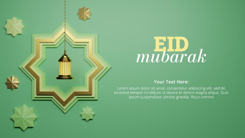 Eid Al Fitr With Hanging Star Lantern Social Media Post Template