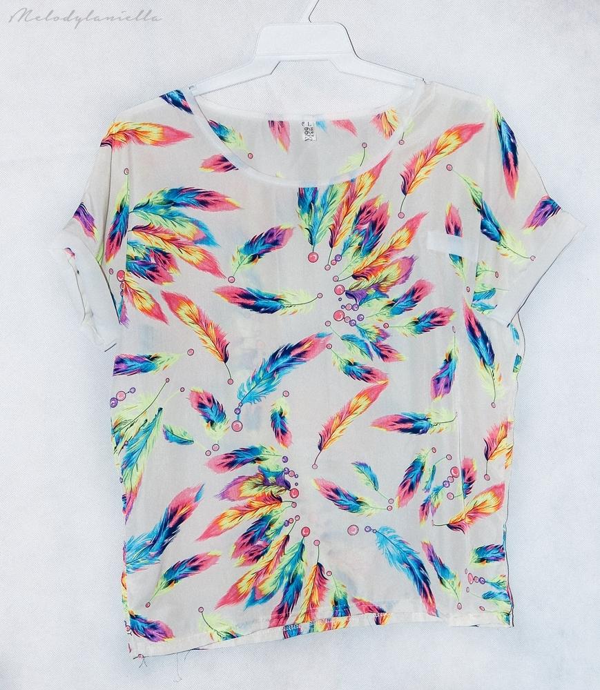 szyfonowa bluzka w kolorowe piorka szyfon kieszonka jakosc ubran dresslink moda styl fashion style look
