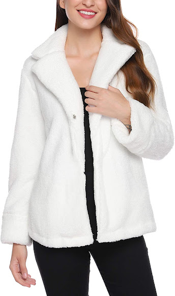 White Faux Fur Coats Jackets for Women