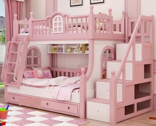 Mẫu giường tầng đa chức năng mô phỏng lâu đài hồng