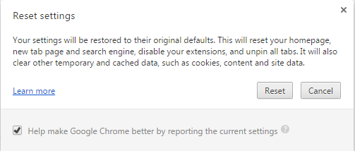 Reset Chrome to remove Pop-up generating Adware