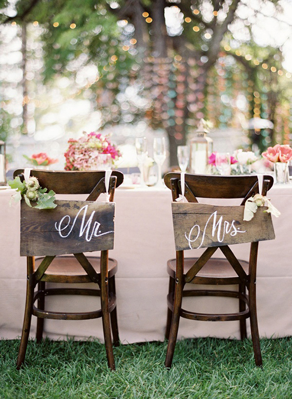 Mr and Mrs wedding chairs. Photo by Jose Villa via Elizabeth Anne Designs