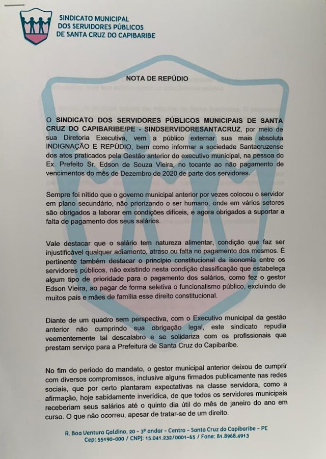 Sindicato emite nota de repúdio ao não pagamento de salários pela gestão do ex-prefeito Edson Vieira de Santa Cruz do Capibaribe